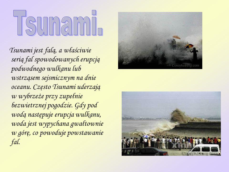 Tsunami jest falą, a właściwie serią fal spowodowanych erupcją podwodnego wulkanu lub wstrząsem sejsmicznym na dnie oceanu. Często Tsunami uderzają w