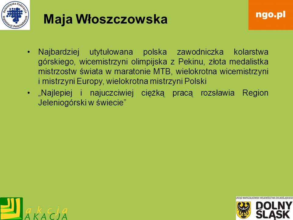 Maja Włoszczowska Najbardziej utytułowana polska zawodniczka kolarstwa górskiego, wicemistrzyni olimpijska z Pekinu, złota medalistka mistrzostw świat