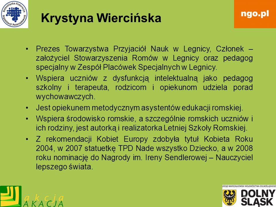 Krystyna Wiercińska Prezes Towarzystwa Przyjaciół Nauk w Legnicy, Członek – założyciel Stowarzyszenia Romów w Legnicy oraz pedagog specjalny w Zespół