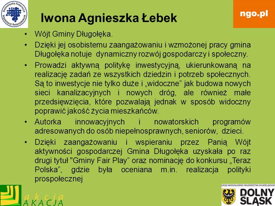 Iwona Agnieszka Łebek Wójt Gminy Długołęka. Dzięki jej osobistemu zaangażowaniu i wzmożonej pracy gmina Długołęka notuje dynamiczny rozwój gospodarczy