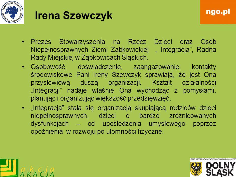 Irena Szewczyk Prezes Stowarzyszenia na Rzecz Dzieci oraz Osób Niepełnosprawnych Ziemi Ząbkowickiej Integracja, Radna Rady Miejskiej w Ząbkowicach Ślą