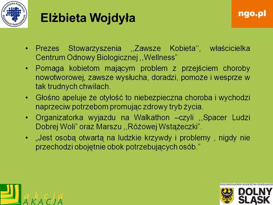 Elżbieta Wojdyła Prezes Stowarzyszenia,,Zawsze Kobieta, właścicielka Centrum Odnowy Biologicznej,,Wellness Pomaga kobietom mającym problem z przejście
