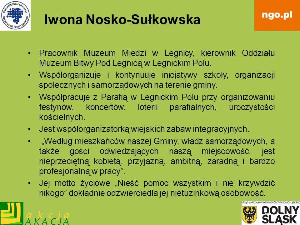 Iwona Nosko-Sułkowska Pracownik Muzeum Miedzi w Legnicy, kierownik Oddziału Muzeum Bitwy Pod Legnicą w Legnickim Polu. Współorganizuje i kontynuuje in