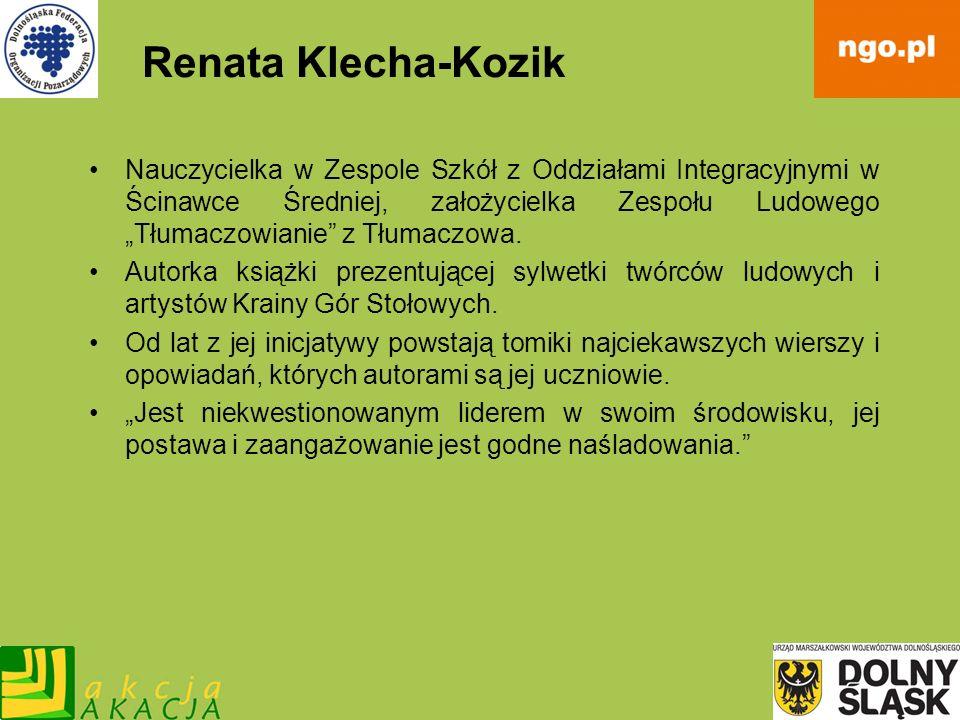 Renata Klecha-Kozik Nauczycielka w Zespole Szkół z Oddziałami Integracyjnymi w Ścinawce Średniej, założycielka Zespołu Ludowego Tłumaczowianie z Tłuma