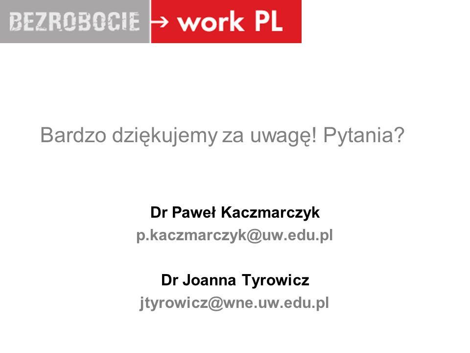 LUBLIN Bardzo dziękujemy za uwagę! Pytania? Dr Paweł Kaczmarczyk p.kaczmarczyk@uw.edu.pl Dr Joanna Tyrowicz jtyrowicz@wne.uw.edu.pl