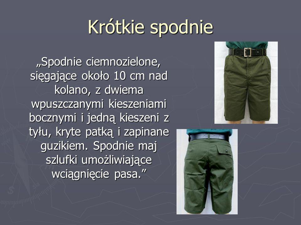 Krótkie spodnie Spodnie ciemnozielone, sięgające około 10 cm nad kolano, z dwiema wpuszczanymi kieszeniami bocznymi i jedną kieszeni z tyłu, kryte pat