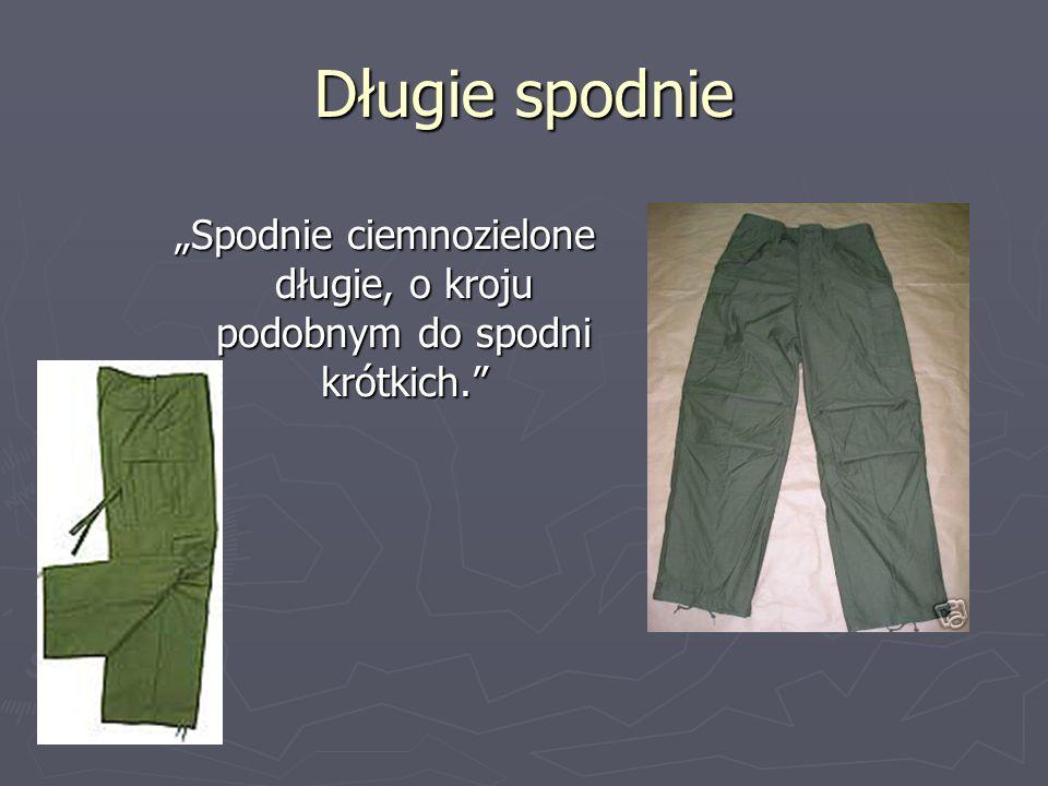 Długie spodnie Spodnie ciemnozielone długie, o kroju podobnym do spodni krótkich.