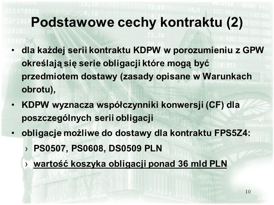 10 Podstawowe cechy kontraktu (2) dla każdej serii kontraktu KDPW w porozumieniu z GPW określają się serie obligacji które mogą być przedmiotem dostaw