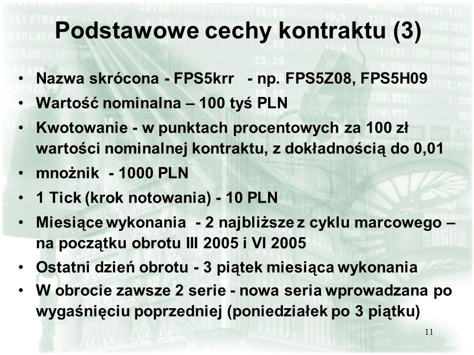 11 Podstawowe cechy kontraktu (3) Nazwa skrócona - FPS5krr - np. FPS5Z08, FPS5H09 Wartość nominalna – 100 tyś PLN Kwotowanie - w punktach procentowych