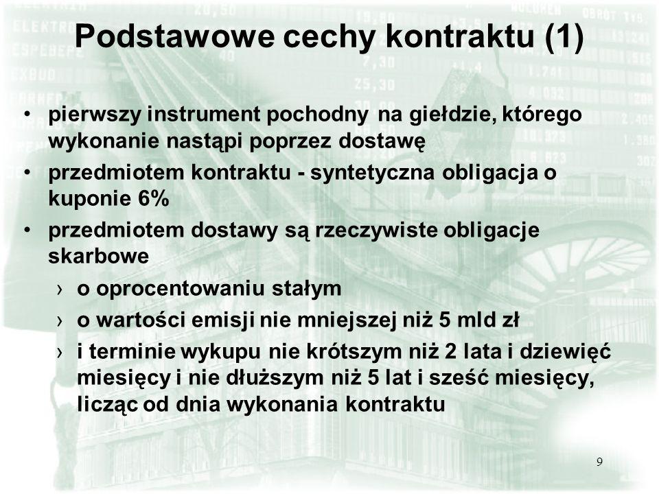 9 Podstawowe cechy kontraktu (1) pierwszy instrument pochodny na giełdzie, którego wykonanie nastąpi poprzez dostawę przedmiotem kontraktu - syntetycz