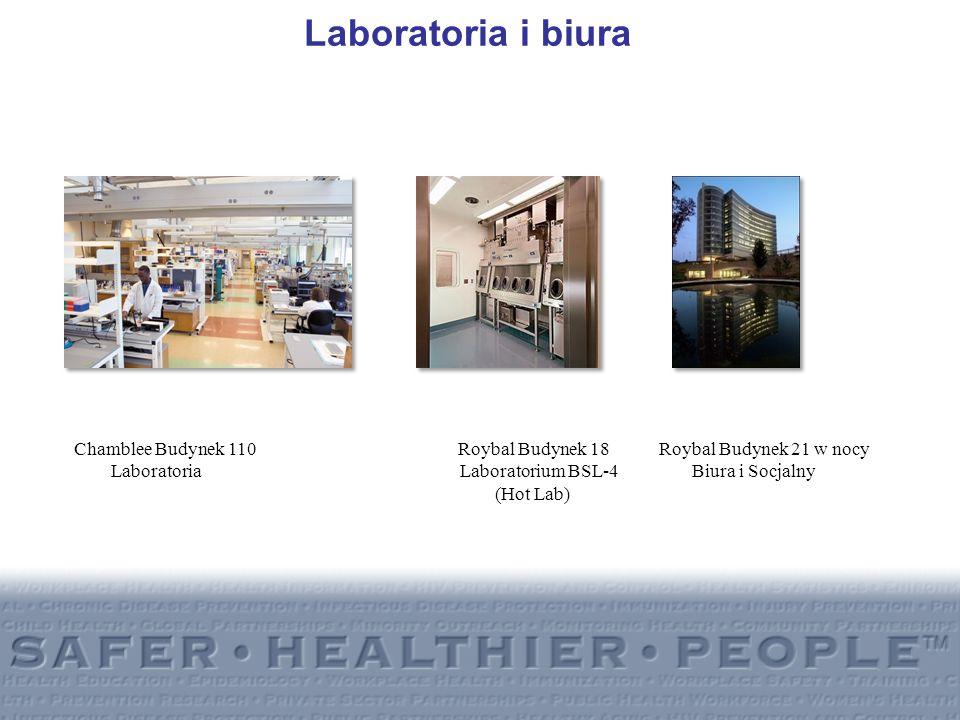 Laboratoria i biura Chamblee Budynek 110 Roybal Budynek 18 Roybal Budynek 21 w nocy Laboratoria Laboratorium BSL-4 Biura i Socjalny (Hot Lab)