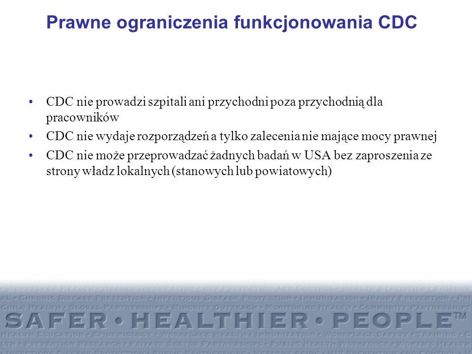 Prawne ograniczenia funkcjonowania CDC CDC nie prowadzi szpitali ani przychodni poza przychodnią dla pracowników CDC nie wydaje rozporządzeń a tylko z