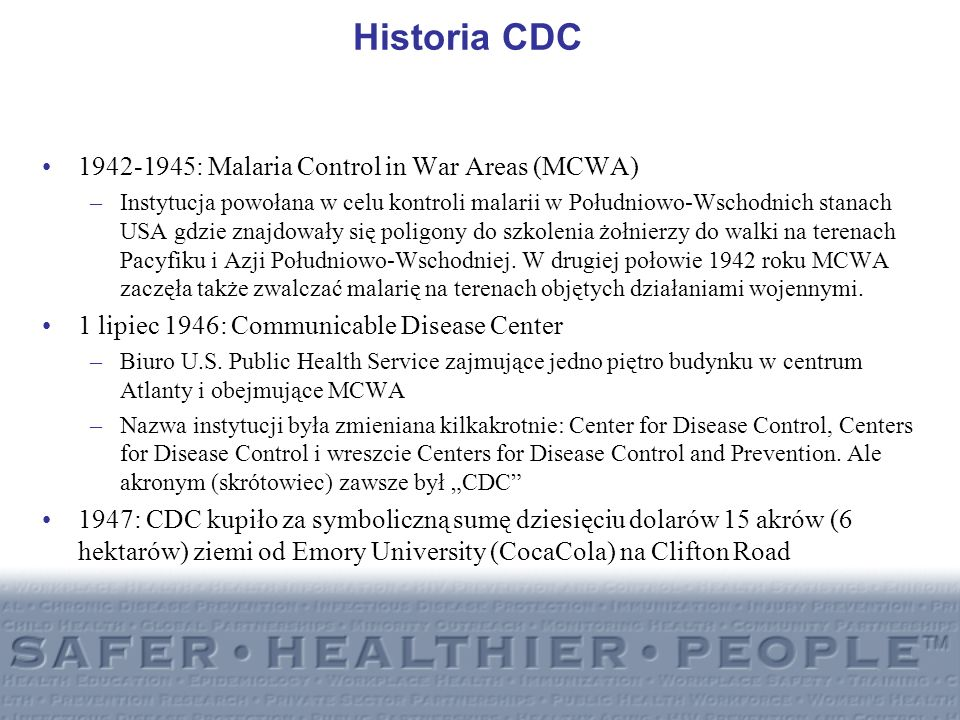 Division of Parasitic Diseases (DPD) Organizacja: CDC/CCID/NCZVED/DPD Podział organizacyjny –Office of the Director (OD) –Parasitic Diseases Branch (PDB) –Malaria Branch (MB) –Entomology Branch (EB)