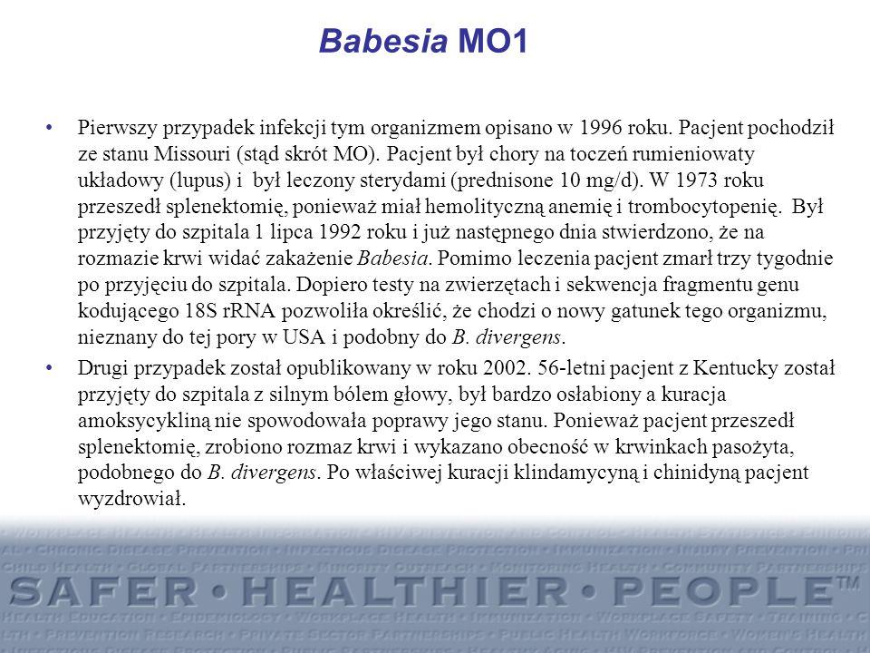 Babesia MO1 Pierwszy przypadek infekcji tym organizmem opisano w 1996 roku. Pacjent pochodził ze stanu Missouri (stąd skrót MO). Pacjent był chory na