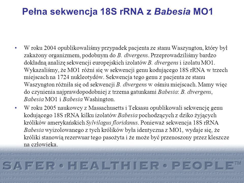 Pełna sekwencja 18S rRNA z Babesia MO1 W roku 2004 opublikowaliśmy przypadek pacjenta ze stanu Waszyngton, który był zakażony organizmem, podobnym do