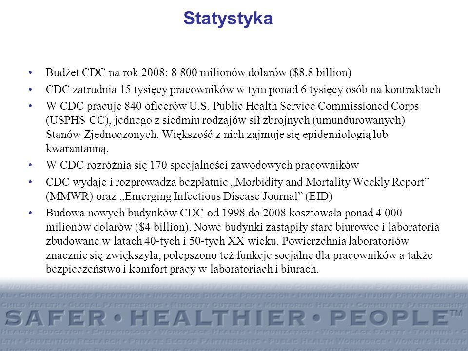 Statystyka Budżet CDC na rok 2008: 8 800 milionów dolarów ($8.8 billion) CDC zatrudnia 15 tysięcy pracowników w tym ponad 6 tysięcy osób na kontraktac