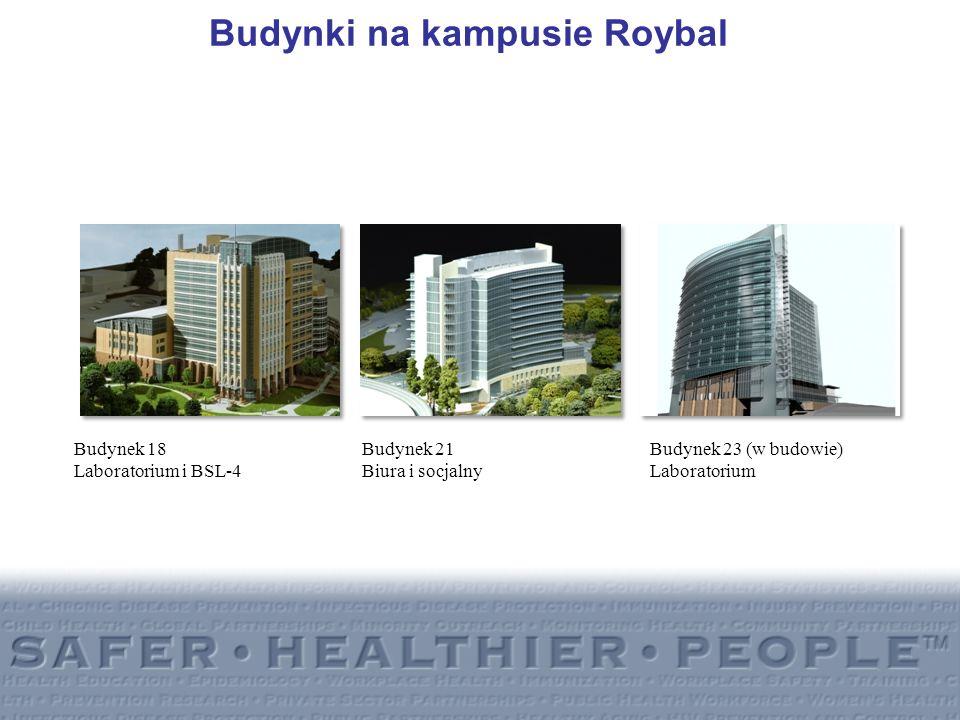 Budynki na kampusie Roybal Budynek 18 Budynek 21 Budynek 23 (w budowie) Laboratorium i BSL-4Biura i socjalnyLaboratorium