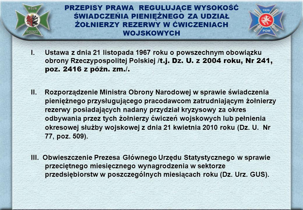 PRZEPISY PRAWA REGULUJĄCE WYSOKOŚĆ ŚWIADCZEŃIA PIENIĘŻNEGO ZA UDZIAŁ ŻOŁNIERZY REZERWY W ĆWICZENIACH WOJSKOWYCH I.Ustawa z dnia 21 listopada 1967 roku