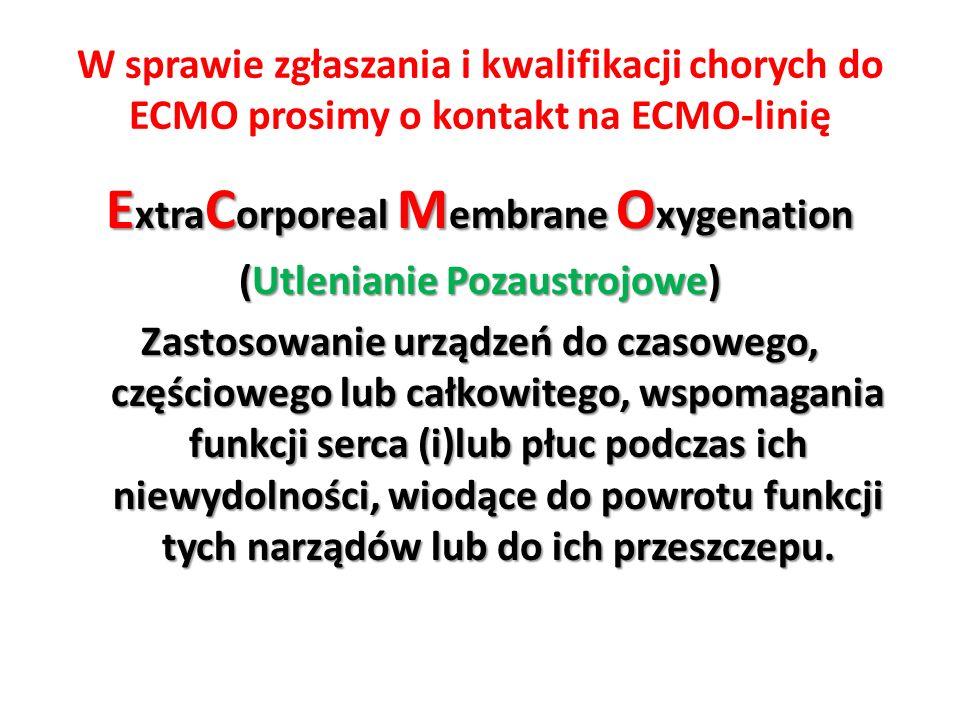 W sprawie zgłaszania i kwalifikacji chorych do ECMO prosimy o kontakt na ECMO-linię E xtra C orporeal M embrane O xygenation (Utlenianie Pozaustrojowe