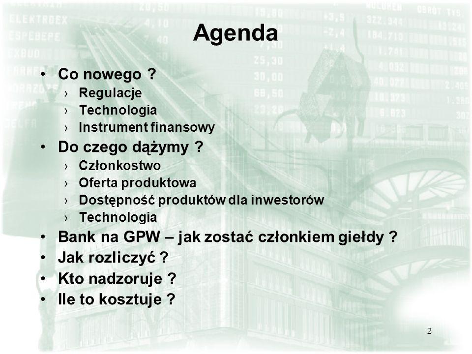 2 Agenda Co nowego .Regulacje Technologia Instrument finansowy Do czego dążymy .