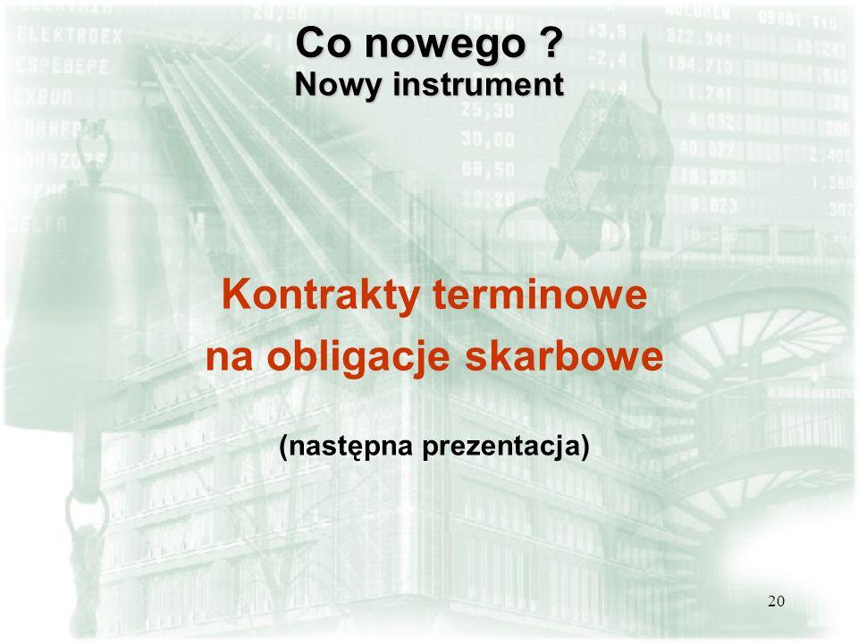 20 Co nowego ? Nowy instrument Kontrakty terminowe na obligacje skarbowe (następna prezentacja)