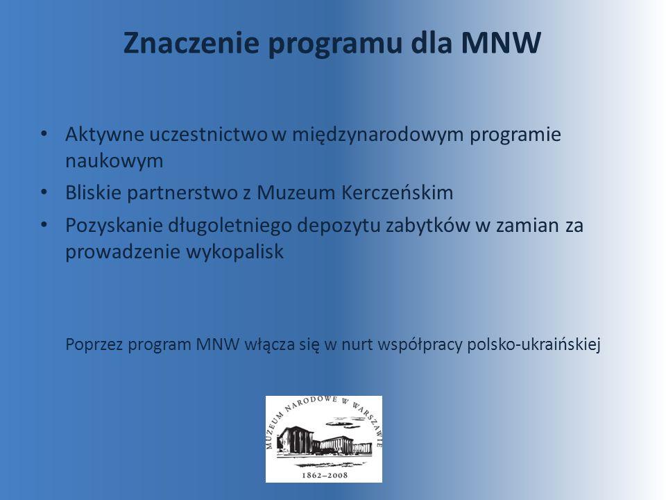 Znaczenie programu dla MNW Aktywne uczestnictwo w międzynarodowym programie naukowym Bliskie partnerstwo z Muzeum Kerczeńskim Pozyskanie długoletniego