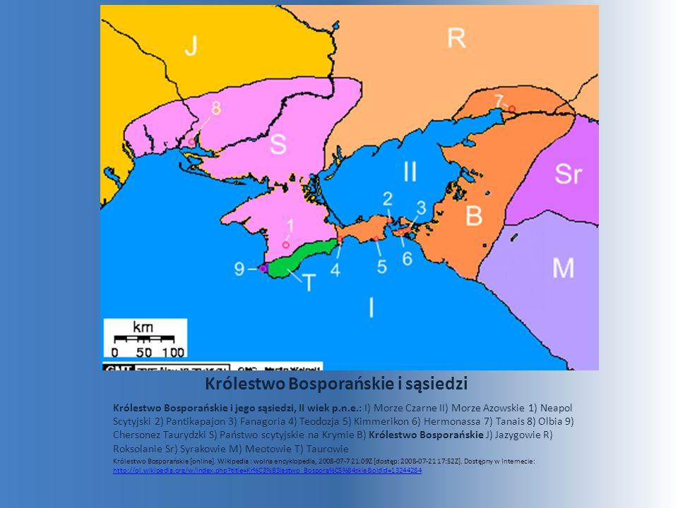Królestwo Bosporańskie i sąsiedzi Królestwo Bosporańskie i jego sąsiedzi, II wiek p.n.e.: I) Morze Czarne II) Morze Azowskie 1) Neapol Scytyjski 2) Pa