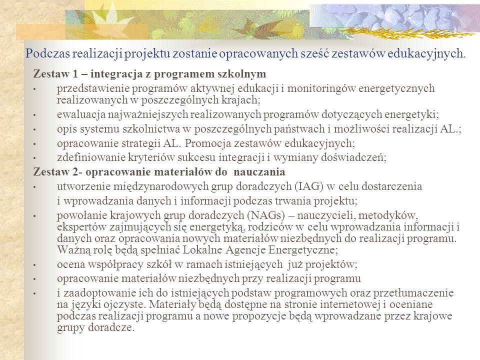 Podczas realizacji projektu zostanie opracowanych sześć zestawów edukacyjnych. Zestaw 1 – integracja z programem szkolnym przedstawienie programów akt