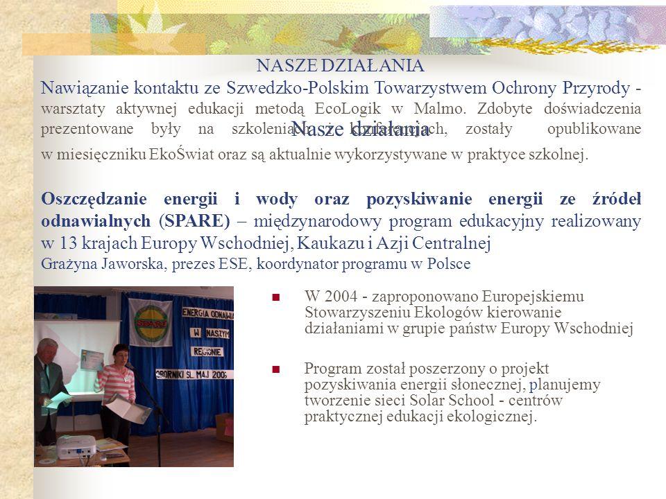 Nasze działania W 2004 - zaproponowano Europejskiemu Stowarzyszeniu Ekologów kierowanie działaniami w grupie państw Europy Wschodniej Program został p