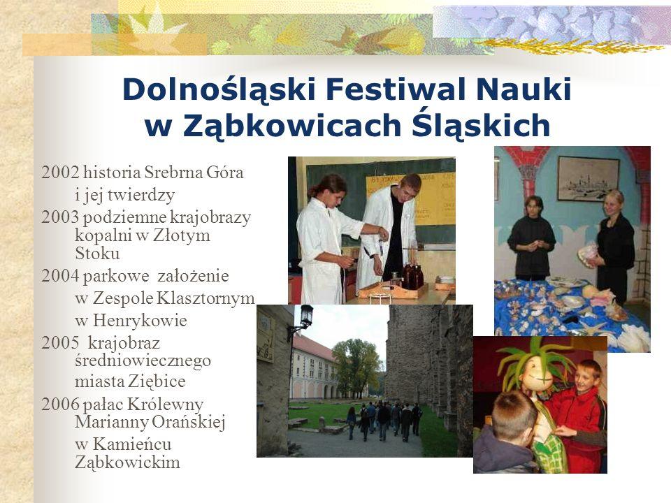 Dolnośląski Festiwal Nauki w Ząbkowicach Śląskich 2002 historia Srebrna Góra i jej twierdzy 2003 podziemne krajobrazy kopalni w Złotym Stoku 2004 park