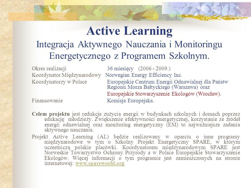 Active Learning Integracja Aktywnego Nauczania i Monitoringu Energetycznego z Programem Szkolnym. Okres realizacji36 miesięcy (2006 - 2009.) Koordynat