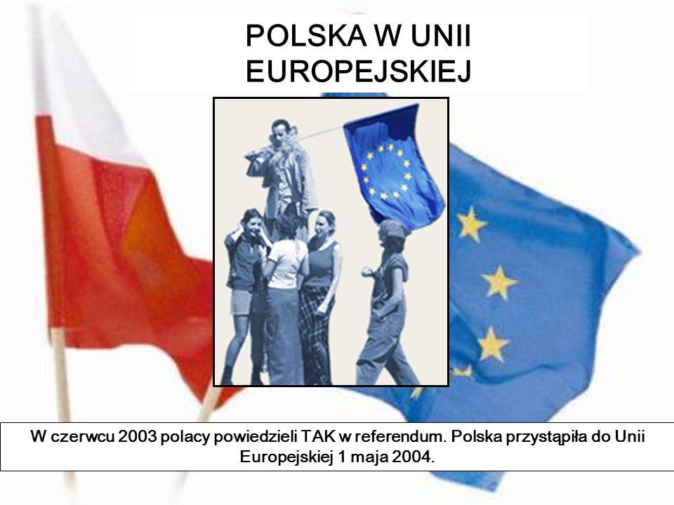 POLSKA W UNII EUROPEJSKIEJ W czerwcu 2003 polacy powiedzieli TAK w referendum. Polska przystąpiła do Unii Europejskiej 1 maja 2004.
