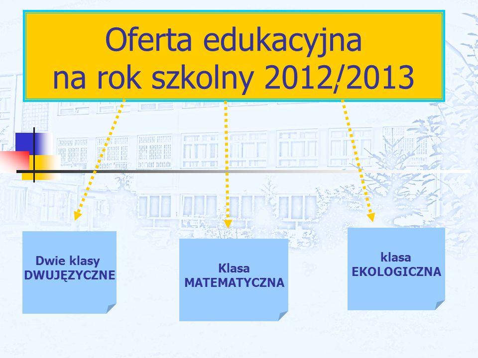 Oferta edukacyjna na rok szkolny 2012/2013 Dwie klasy DWUJĘZYCZNE Klasa MATEMATYCZNA klasa EKOLOGICZNA