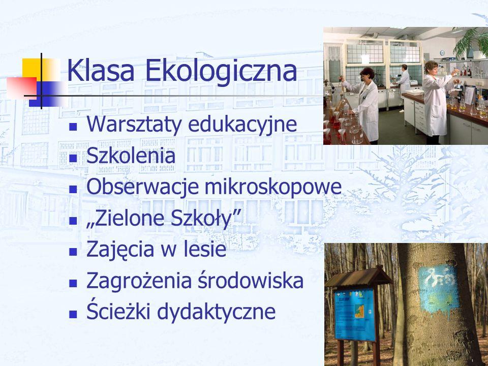 Klasa Ekologiczna Warsztaty edukacyjne Szkolenia Obserwacje mikroskopowe Zielone Szkoły Zajęcia w lesie Zagrożenia środowiska Ścieżki dydaktyczne