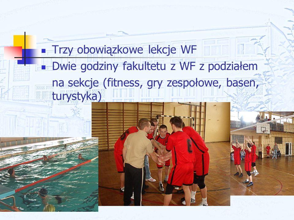 Trzy obowiązkowe lekcje WF Dwie godziny fakultetu z WF z podziałem na sekcje (fitness, gry zespołowe, basen, turystyka)
