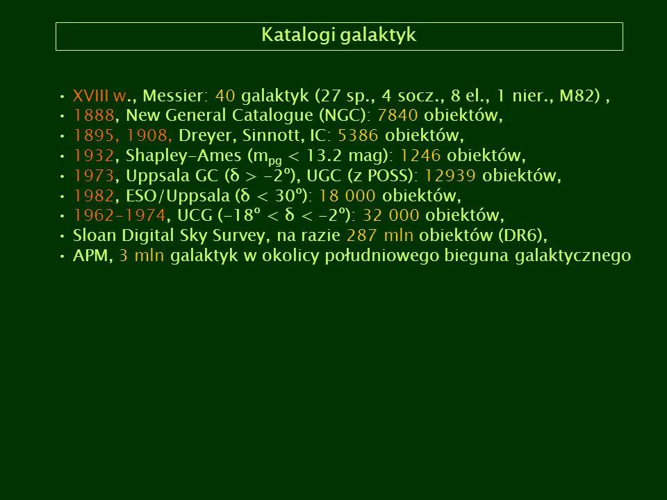 Katalogi galaktyk XVIII w., Messier: 40 galaktyk (27 sp., 4 socz., 8 el., 1 nier., M82), 1888, New General Catalogue (NGC): 7840 obiektów, 1895, 1908,