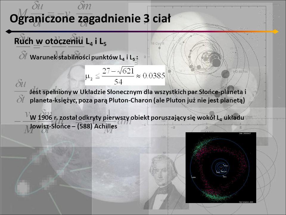 Ograniczone zagadnienie 3 ciał Ruch w otoczeniu L 4 i L 5 Warunek stabilności punktów L 4 i L 5 : Jest spełniony w Układzie Słonecznym dla wszystkich