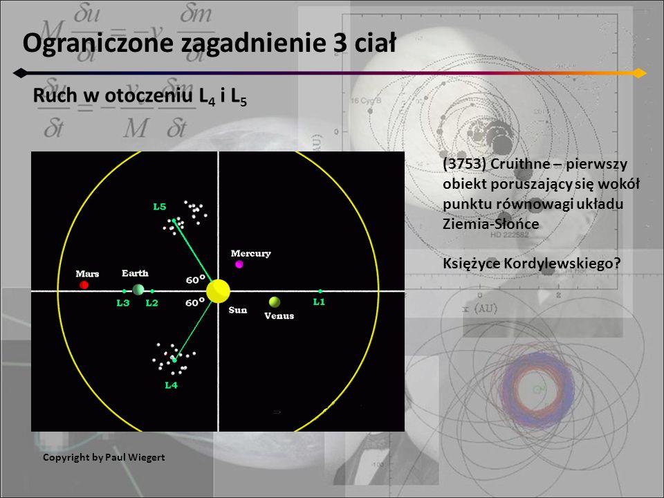 Ograniczone zagadnienie 3 ciał Ruch w otoczeniu L 4 i L 5 Copyright by Paul Wiegert (3753) Cruithne – pierwszy obiekt poruszający się wokół punktu rów