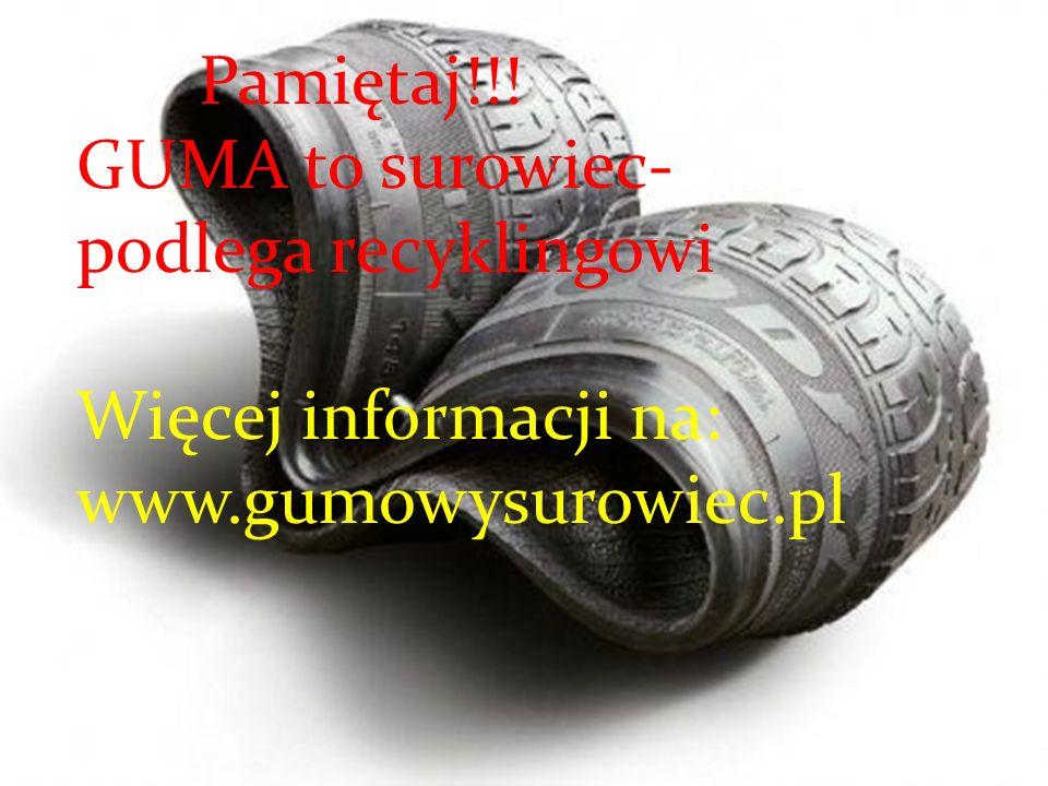 Pamiętaj!!! GUMA to surowiec- podlega recyklingowi Więcej informacji na: www.gumowysurowiec.pl