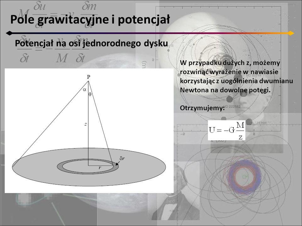 Pole grawitacyjne i potencjał Potencjał na osi jednorodnego dysku W przypadku dużych z, możemy rozwinąć wyrażenie w nawiasie korzystając z uogólnienia