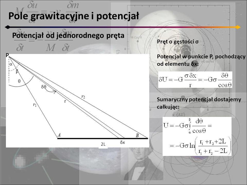 Pole grawitacyjne i potencjał Potencjał od jednorodnego pręta Pręt o gęstości σ Potencjał w punkcie P, pochodzący od elementu δx: Sumaryczny potencjał