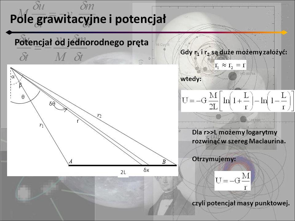 Pole grawitacyjne i potencjał Potencjał od jednorodnego pręta r δxδx δθ θ 2L Dla r>>L możemy logarytmy rozwinąć w szereg Maclaurina. Otrzymujemy: czyl