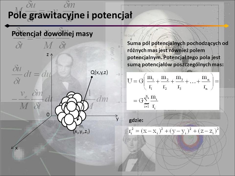 Pole grawitacyjne i potencjał Potencjał dowolnej masy Suma pól potencjalnych pochodzących od różnych mas jest również polem potencjalnym. Potencjał te