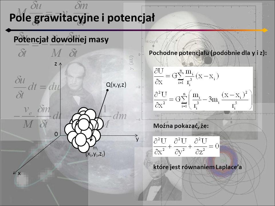 Pole grawitacyjne i potencjał Potencjał dowolnej masy z y x 0 M mimi (x i,y i,z i ) Q(x,y,z) Pochodne potencjału (podobnie dla y i z): Można pokazać,