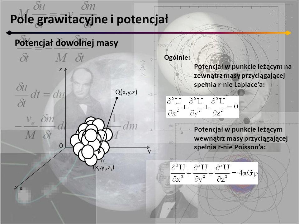 Pole grawitacyjne i potencjał Potencjał dowolnej masy z y x 0 M mimi (x i,y i,z i ) Q(x,y,z) Ogólnie: Potencjał w punkcie leżącym na zewnątrz masy prz