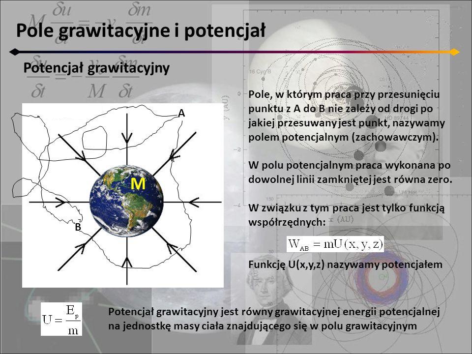 Pole grawitacyjne i potencjał Potencjał grawitacyjny M A B Pole, w którym praca przy przesunięciu punktu z A do B nie zależy od drogi po jakiej przesu