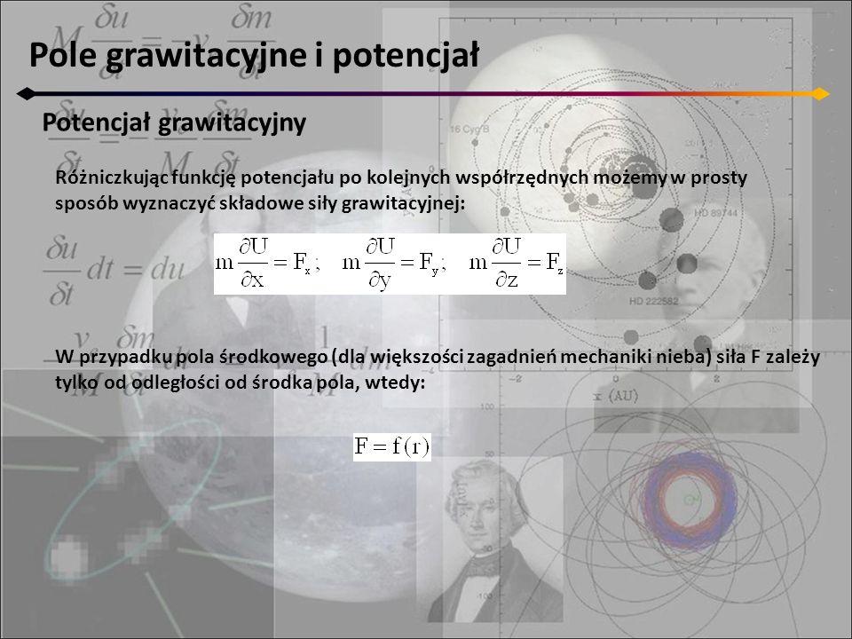 Pole grawitacyjne i potencjał Potencjał grawitacyjny Różniczkując funkcję potencjału po kolejnych współrzędnych możemy w prosty sposób wyznaczyć skład