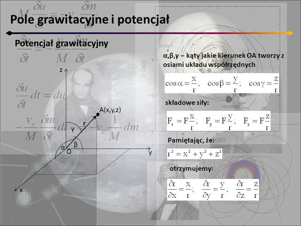 Pole grawitacyjne i potencjał Potencjał grawitacyjny z y x A(x,y,z) α β γ O α,β,γ – kąty jakie kierunek OA tworzy z osiami układu współrzędnych składo
