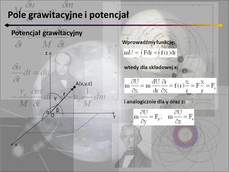 Pole grawitacyjne i potencjał Potencjał grawitacyjny z y x A(x,y,z) α β γ O r Wprowadźmy funkcję: wtedy dla składowej x: i analogicznie dla y oraz z: