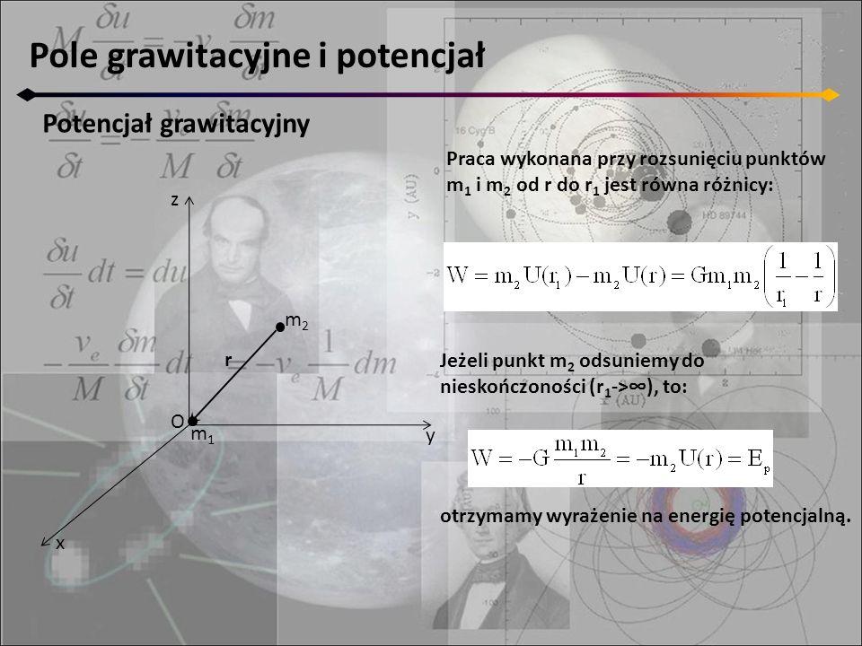 Pole grawitacyjne i potencjał Potencjał grawitacyjny z y x m2m2 O r m1m1 Praca wykonana przy rozsunięciu punktów m 1 i m 2 od r do r 1 jest równa różn
